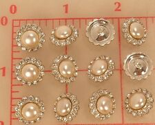 "12 vintage Czech rhinestone buttons silver metal pearl center 1/2"" 14mm 531"