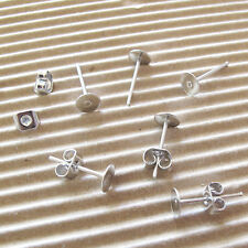 US SELLER - 50 pairs x (5x12mm) Earring Post/Stud w/Flat Pad & Stoppers A02