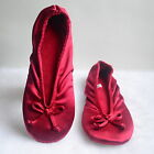 ISOTONER Stretch Satin Ballet Style Slippers Ruby Red Size S M L XL NEW