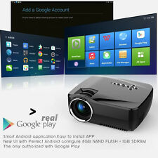 Mini Android OS LCD Projector Home Theatre TV Game 1080P HDMI Bluetooth WIFI USB