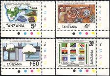 Tanzania 1985 Cotton/Textiles/Diamonds/Mining/Train/Plane/Flags 4v set (n44738)