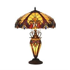 "Tiffany Style Stained Glass Victorian 3 Light Double Lit Table Lamp 18"" Shade"