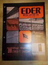 Vtg Eder Metal Letter Co Catalog~Metal Signs/Plaques/Lettering
