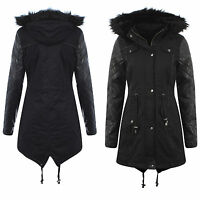 NEW WOMENS LEATHER ARMS LADIES HOODED PARKA  JACKET COAT FISHTAIL  OVERCOAT