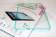 iPad Air Transparent Clear Back Case WITH TURQUOISE RIM + Screen Tempered Glass