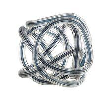 """New 6"""" Hand Blown Art Glass Knot Sculpture Figurine Statue Clear Blue"""