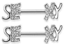 """Nipple Rings barbell ring 316L Surgical Steel """"SEXY"""" Nipple Bar with Paved Gems"""