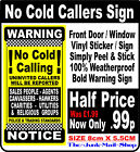 No Cold Callers Front Door/ Window Sticker, Sign WARNING NOTICE (Decal Yellow)