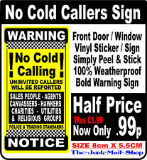 BOLD WARNING NOTICE No Cold Callers Front Door★Window (Decal No Hawkers) Sign ❶