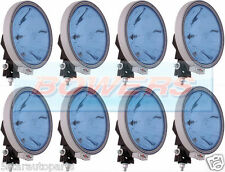 """8 x 12V/24V 9"""" ROUND BLUE SPOT/DRIVING LAMPS/LIGHTS TRUCK/LORRY/4X4/OFF ROAD"""