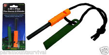 2-IN-1 Emergency Flint Fire Starter and Whistle Camping Survival Bug-Out-Bag NEW