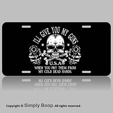 2nd Amendment From My Cold Dead Hands Skull Vanity License Plate Tag Gun Store