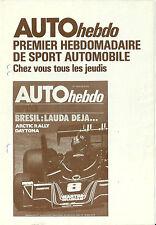 Publicité Auto hebdo 1976 sport automobile motor racing Echappement Hommel