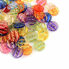 50pcs Transparent Acrylic Buttons Sewing Buttons 2-Hole Flat Round Mixed Color