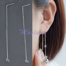 Pair 925 Sterling Silver Long Chain Ear Threads Handmade Earring Drop Dangle DIY