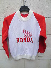 VINTAGE Sweat moto HONDA shirt annnées 80 made in France rouge blanc XS S