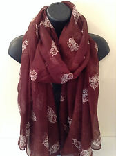 Ladies Women Mini Owl Print Brown Scarf Wrap Shawl Pashmina