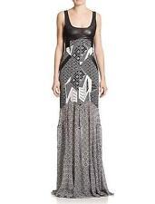 Diane von Furstenberg Black Bali Silk Leather DVF Serena Maxi Dress $998 NWT 10