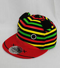 City Hunter Stripey Rasta Bear Snapback Baseball Hat Cap Red Yellow & Green