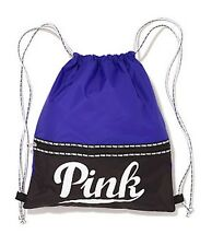 New Victoria's Secret  Pink Drawstring Backpack Lightweight Bag Blue Blaze