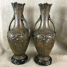 Antique Art Nouveau Vases French Bronze Spelter Marble Moreau Rare Pair Vase
