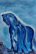 Blue Horse with Girl: Original Oil painting signed