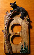 BLACK BEAR CUB OUTLET WALL PLATE COVER Log Cabin Lodge Wood Grain Home Decor NEW