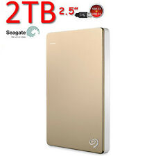 "New 2TB SEAGATE Backup Plus SLIM 2.5"" USB3.0 External Portable Hard Drive Gold"