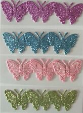 12 Glitter Butterfly Embellishments for cards  and crafts purple/blue/pink/green