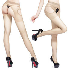 SexyFashion Women Open Crotch Crotchless Sheer Pantyhose Silk Stockings Tights