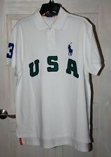 POLO RALPH LAUREN WHITE CUSTOM FIT USA BIG PONY POLO XL NWT