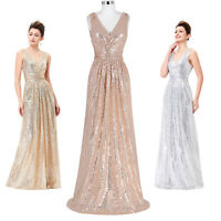 Sequins Wedding Evening Formal Party Cocktail Gown Long Bridesmaid Prom Dress