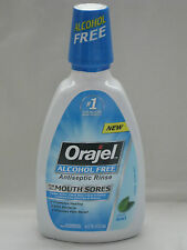 Orajel #1 Pain Reliever Antiseptic Mouth Rinse Sores Alcohol Free Fresh Mint BFR