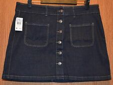 Womens Short Dark Denim Vanity Flat Front Skirt Size 30 NWT NEW
