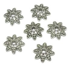 M7151 Antiqued Silver 14mm Large 8-Petal Dotted Flower Round Bead Caps 6/pkg