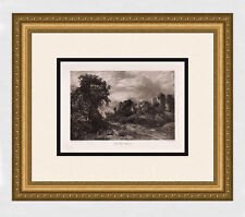 "John CONSTABLE 1800s Antique Print ""Famous Old Glebe Farm"" FRAMED Signed COA"