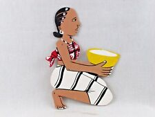 Colorful African Hand Painted Cut Out Wall Hanging Sitting Woman w/Bowl Mali