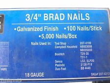 "3/4""  18 Gauge Galvanized Chisel Point Finish Brad Nails 5,000 Count New"