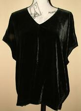 EILEEN FISHER Black Silk Velvet Stretch Over-sized Blouse Medium $224