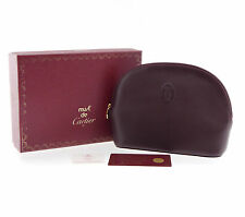 Authentic Cartier Must De Pouch Cosmetic Bags Bordeaux Leather #f10925
