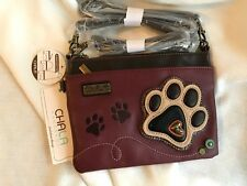 NEW CHALA PAW PRINT BURGUNDY MINI CROSSBODY CELL PHONE PURSE ADJUSTABLE STRAP