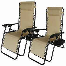 Tan 2 Zero Gravity Lounge Beach Chairs+Utility Tray Folding Outdoor Recliner