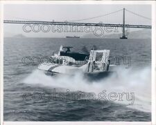 1965 Port of Oakland Hovercraft Approaches Golden Gate Bridge Press Photo