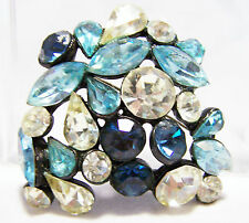 Vintage Blue Shades Rhinestone Pin Black Japanned Setting Brooch 416D