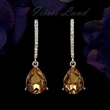 18k Gold Plated Topaz Crystal Rhinestone Drop Dangle Earrings 8644 Party Prom
