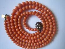 ANTIQUE NATURALSALMON CORAL ROUND BEADS GRADUATED,2 STRAND, 4.5-7.5 mm. 32.8gr