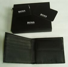 HUGO BOSS '50311783' 'TRAVELLER' BI FOLD BLACK CALFSKIN LEATHER NOTE WALLET £119