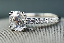 Wedding Ring D/VVS1 Engagement 2.42 CT 14k White Real Solid Gold Pave setting