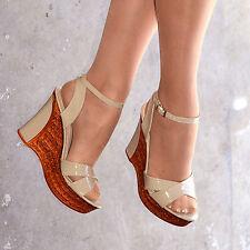 Ladies Ankle Strap Wedges Womens Platform Summer Shoes Patent Cork Size   H20174