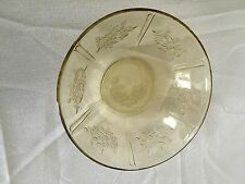 """VINTAGE YELLOW DEPRESSION GLASS BOWL WITH ROSES 8.5"""""""
